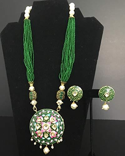 Green Meenakari designer necklace set