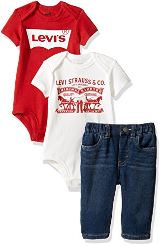 Levi's Baby Boys' Bodysuits and Knit Slim Fit Jeans 3-Piece Gift Box Set, Waverly, 0/6M
