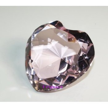 60mm Diamond Jewel Paperweight Pink Heart Shaped Cut (Special Parts 60 Piece)