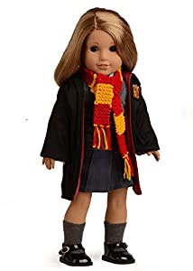 Sweet Dolly Magic Outfits Witchcraft School Uniform Doll Clothes For 18 inch American Girl Doll (Clothes, Shoes and Scarf)