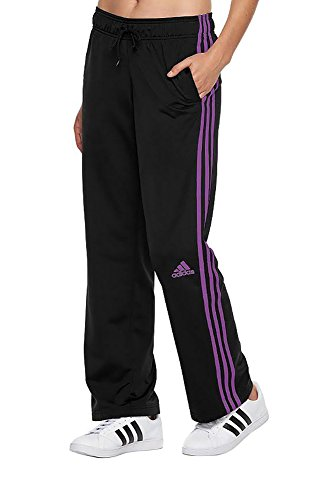 adidas Women's Basketball 3 Stripe Pants, Black/Shock Purple, Medium (Adidas Womens Gym)