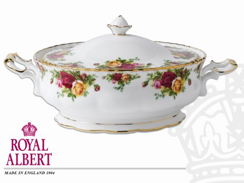 (ROYAL ALBERT Old Country Roses Covered Vegetable Dish)