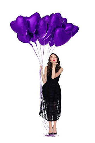 Treasures Gifted Pack of 12 Dark Violet Purple Foil Balloons for Unicorn Theme Baby Shower Decorations Sweet Sixteen Birthday or Bridal Party with Shiny 18 Inch Heart Shaped Mylar Supplies -