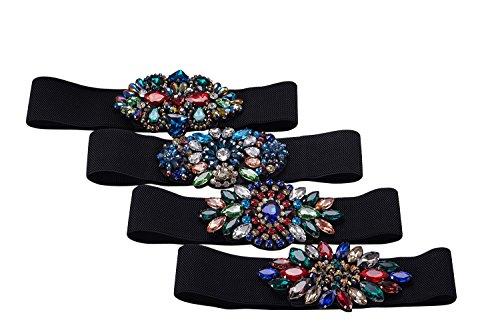 Vintage Colorful Beaded Stretch Belts for Women,Ladies Wide Rhinestone Belt (Color 3) by SanJL (Image #2)