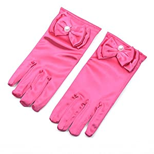 Lusiyu Girl Solid Child Size Wrist Length Formal Glove with Bow