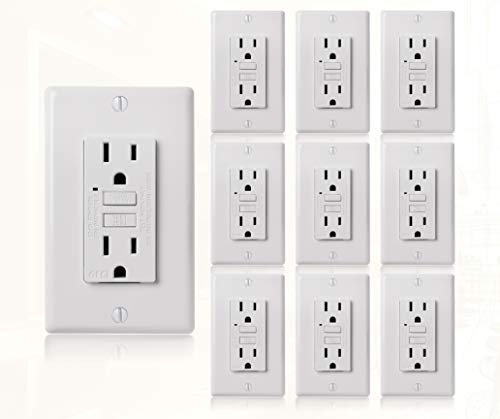 Faith Electric 15A GFCI Outlets Slim, Non-Tamper-Resistant GFI Duplex Receptacles with LED Indicator, Self-Test Ground Fault Circuit Interrupter with Wall Plate, ETL Listed, 10 Pack, White, 10 Piece