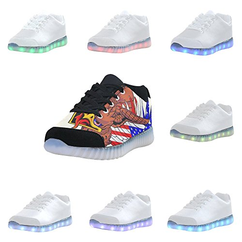 Interestprint Skull Light Up Shoes Sneakers Lampeggianti Scarpe Basse Casual Da Uomo Aquila