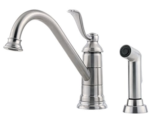 (Pfister LG344PS0 Portland 1-Handle Kitchen Faucet with Side Spray in Stainless Steel, Water-Efficient Model)