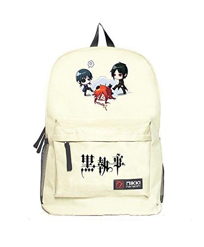 Fuman BlackButlerl Cosplay Rucksack Schultasche Anime Fans Reise Umhängetasche Outdoor Sport und Freizeit Rucksack Weiß