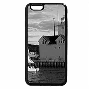 iPhone 6S Case, iPhone 6 Case (Black & White) - Red lighthouse