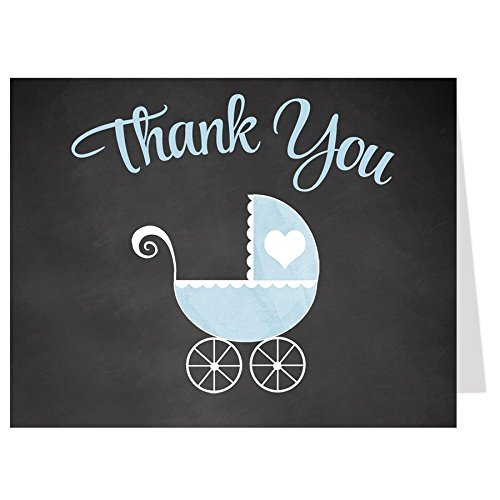 Carriage Folded Notes - Baby Shower Thank You Cards, Chalkboard, Carriage, Stroller, Buggy, Boys, Blue, Sprinkle, Aqua, Set of 50 Folding Notes with White Envelopes, Burlap Baby Carriage (Blue)