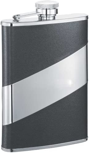 Visol Descent Leather Stainless Steel Flask 8 Ounce Black Alcohol And Spirits Flasks Flasks
