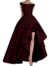 NewFex Women's Off Shoulder Evening Gown High Low Prom 2019 Satin Formal Dress