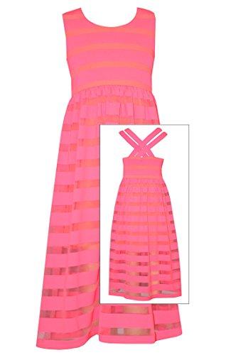Bonnie Jean Tween Girls Summer Pink Stripe to Sheer Maxi 16