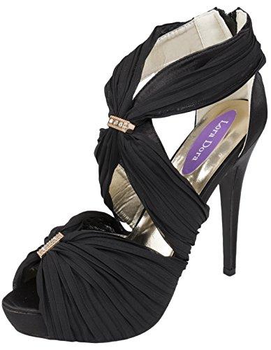 Lora Dora Womens Diamante High Heels Chiffon Stilettos Platform Bridal Shoes Wedding Size UK 3-8 Black