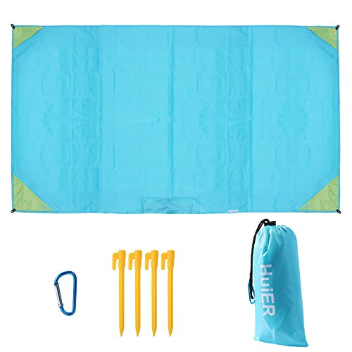 Waterproof Beach Blanket Picnic Mat Large Outdoor Ground Cover Raincoat Design Windproof with 4 Built-in Metal Gaskets + 4 Ground Stakes + Hook + Portable Storage Bag for Hiking Camping Travel - HuiER by HuiER