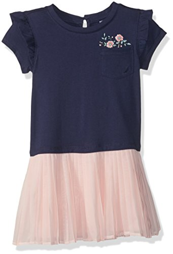 e Short Sleeve Fashion Dress, Navy Chiffon 6X ()