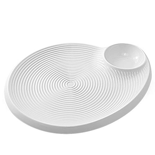77L Sushi Plate, Ceramic Sushi Plate with Dipping Saucer - Sushi Dish, 8 Inches, Dumpling Serving Tray, Snack Plate with Vinegar Dish for Home and Kitchen, White (Best Dumpling Dipping Sauce)