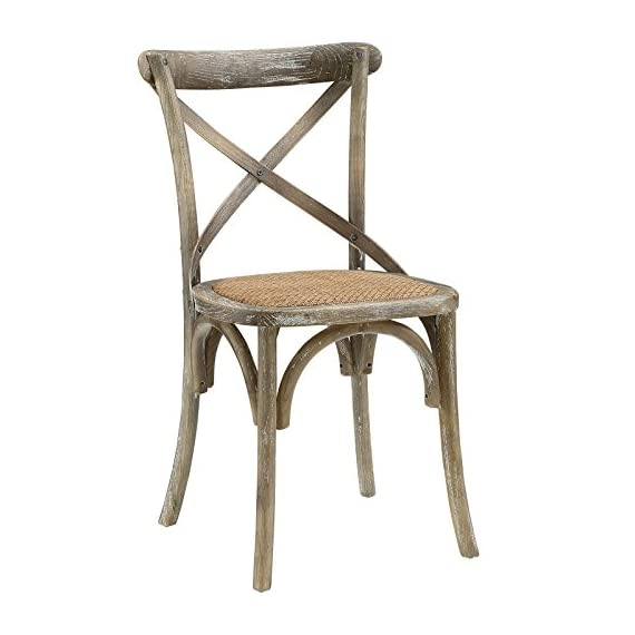 Modway Gear Rustic Modern Farmhouse Elm Wood Rattan Dining Chair in Gray - FARMHOUSE STYLE - Transporting you to a cafe on the bustling streets of Vienna, Gear effortlessly blends farmhouse and modern styles, bringing intriguing rustic charm to your dining area. SUPPORTIVE COMFORT - A preferred choice for the dining room, Gear boasts a natural rattan seat that offers a supportive, comfortable place to rest on while eating, chatting, working or reading a book. SUPERIOR CONSTRUCTION - Crafted with solid elm wood, Gear adds charm and nostalgia to the dining room. Sitting atop bowed legs, the open cross back frame is complemented by the curved apron detail. - kitchen-dining-room-furniture, kitchen-dining-room, kitchen-dining-room-chairs - 416dazwBDoL. SS570  -