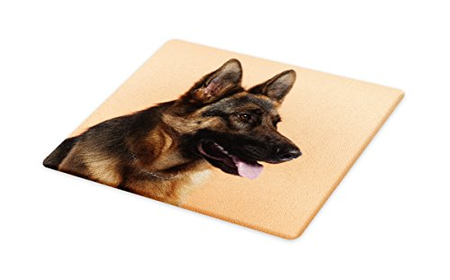 Lunarable German Shepherd Cutting Board, Close-up Photo of a Young Dog in Front of Orange Backdrop, Decorative Tempered Glass Cutting and Serving Board, Large Size, Pale Orange Pale Brown Black -