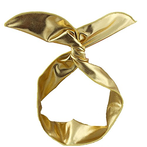 Orthodontic Headgear Costume (ZMvise Women Girl Kids Wire Headband Muti-function Bunny Rabbit Ear Hair Band Sweet Dream Head-tie Twist Gift (Gold))