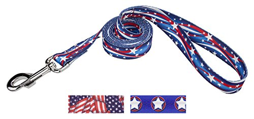 Image of Country Brook Design 1 Inch Star Spangled Dog Leash - 4 Feet