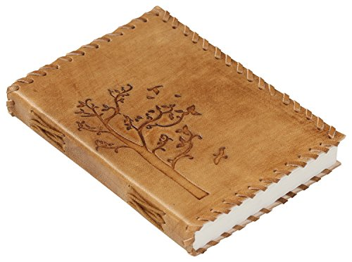 PRIME SALE – Souvnear Genuine Handmade Leather Journal / Personal Notebook in Golden-Brown – Embossed Leather – Tree  Soaring Birds Pattern – Travel …
