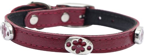 (Dogit Leather Style Dog Collar with Buckle and Pewter Flower Charm, 12-Inch, Red)