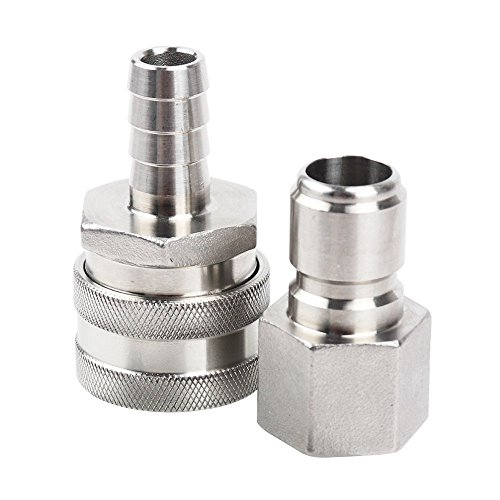 Stainless Steel Quick Disconnect Set (Barb Female, FPT Male)