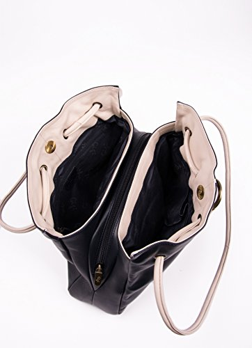 Leather Navy Ring Ivory Black Shoulder Bag Detail Gigi Ladies Navy qpxZatp