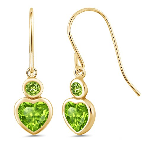 1.26 Ct Heart Shape Green Peridot 14K Yellow Gold Earrings (1.26 Ct Heart)