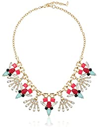 """ABS Going Coastal Stone Cluster Frontal Necklace,Gold/Multi, 18"""" + 2"""" Extender"""