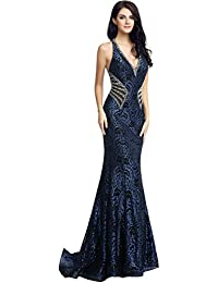Womens Crystal Beaded Prom Dresses Long Formal Evening Gowns LX116