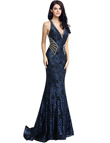 Sarahbridal Womens Lace Mermaid Prom Dress Long 2019 Sequin Beaded Evening Ball Gowns Navy Blue US8