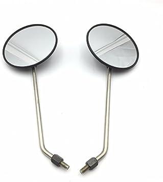 """Black Pair Universal 5/"""" Round Long Stem Mirrors 8mm Honda Kawasaki Suzuki Cruise"""