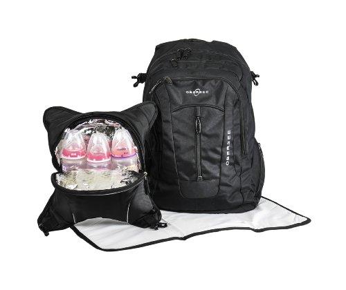 Obersee Bern - Mochila para pañales con bolsa isotérmica separable (negro y camuflaje)