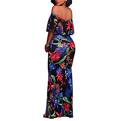 Women's Off Shoulder Dress Hawaiian Floral Evening Gown Long Maxi Dress: Clothing