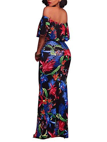 2bd5562a13a FairBeauty Women s Floral Off Shoulder Ruffle Fishtail Evening Grown Long  Maxi Dress