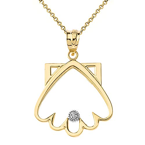 Shell Diamond Yellow - Polished 14k Yellow Gold Solitaire Diamond Clamshell Outline Pendant Necklace, 18