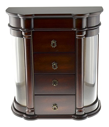 (Arolly Classic Charry Finish Jewelry Box Organizer Storage Container Dimensions 13