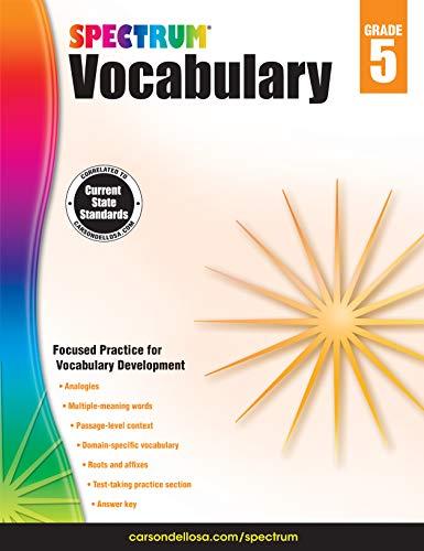 Spectrum Paperback Vocabulary Book, Grade 5, Ages 10-11