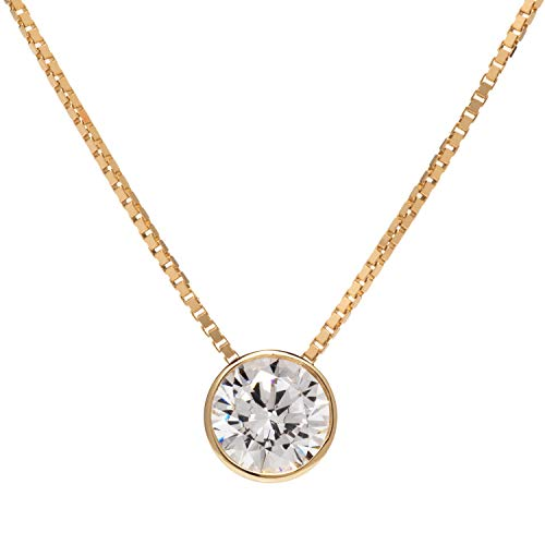 14K Solid Yellow Gold Pendant Necklace | Bezel Set Round Cut Cubic Zirconia Solitaire | 1.25 Carat | 16 Inch 1.0mm Box Link Chain | With Gift ()