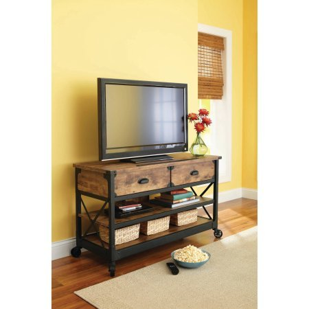 Rustic Country Antiqued Black/pine Panel Tv Stand for Tvs up to 52'