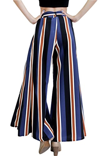 Womens Stripe High Waisted Wide Lounge Wide Leg Culottes Split Palazzo Skirt Pants M,Navy by Oops Style (Image #1)