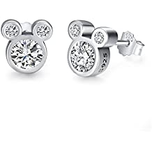 Twenty Plus Disney Mickey Minnie Mouse Stud Earrings With Clear CZ Jewelry Gifts for Women Girls Kids Christmas Holiday