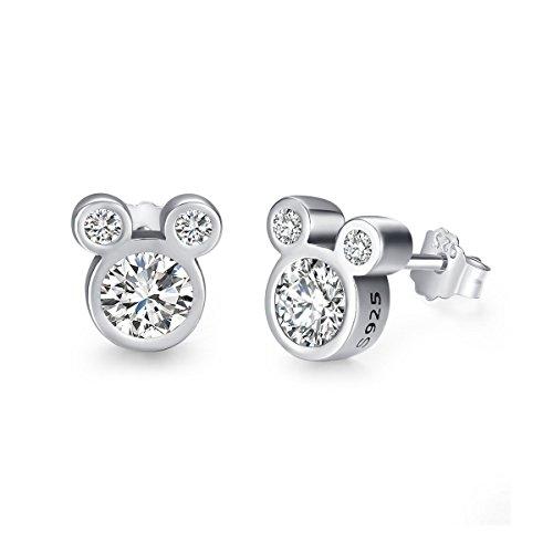 Twenty Plus Cute Dazzling Mickey Shaped Stud Earrings for Women and Girls Fashion Jewelry1-Pair (Disney Stud Earrings)