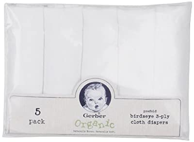 Gerber 5 Count Organic Birdseye Prefold Cloth Diaper from Gerber