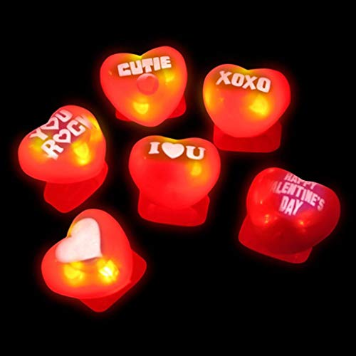 Valentines Day Party Favor Toy Heart Shaped Light Up Ring For Kids 12 Pack