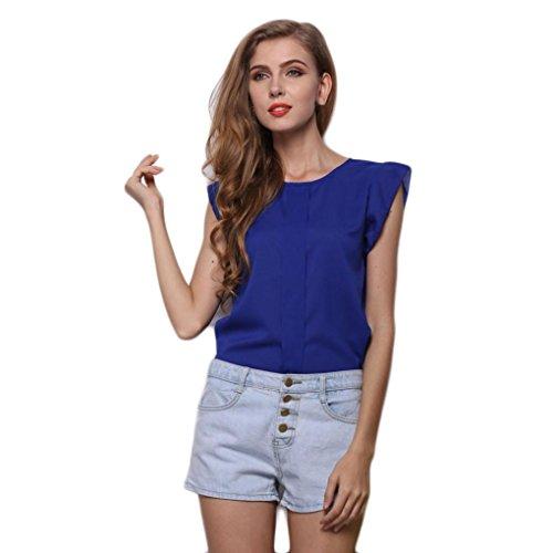 Cotton Album Quilt - UOKNICE Women O-Neck Sleeveless Pure Color Vest Chiffon Fold Business Tops T-Shirt Blouse (XL, Blue)