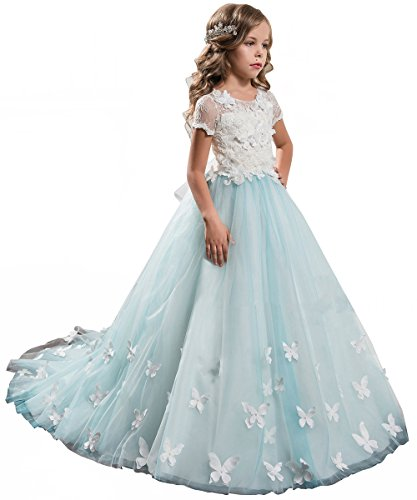 PLwedding Elegant Long Lace Applique Flower Girl Dress Wedding Birthday Dress Size 6
